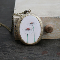January SALES - Daisy Flower Locket Necklace - Oval Antique Bronze - Epoxy Glass
