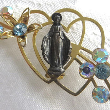 Virgin Mary Brooch, Heart and Rhinestone Religious Pin, Virgin Mother Religious Jewelry