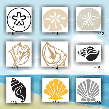 SEASHELLS vinyl decals - 10-18 - vinyl sticker - car decal - car sticker - sea shells - sand dollar - beach - sand