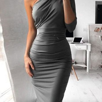 Grey Asymmetric Shoulder Sashes Long Sleeve Casual Midi Dress