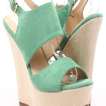GREEN FAUX SUEDE BAMBOO WOVEN PLATFORM WEDGE SANDALS