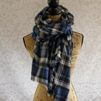 Ready To Ship Limited Edition Oversized 69 X 57 Tartan Blanket Scarf Blue Black White Plaid Flannel Winter Fall Accessories