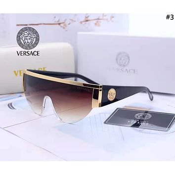 Versace 2019 new women's retro large frame connected polarized sunglasses #3