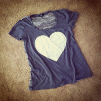 Big Heart blue-gray and white loose sheer back t shirt sweetheart
