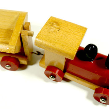 Vintage Wooden Train Set,Colorful Wooden Train Toy,Vintage Wooden Toy,Wood Toy Train,Vintage Train Set,Natural Toys,Nursery Decor,Denmark