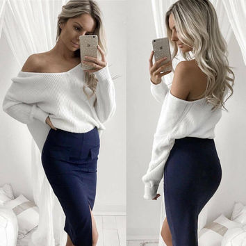 V-neck Long Sleeves Casual Striped Sexy Pure Color Knit Blouse