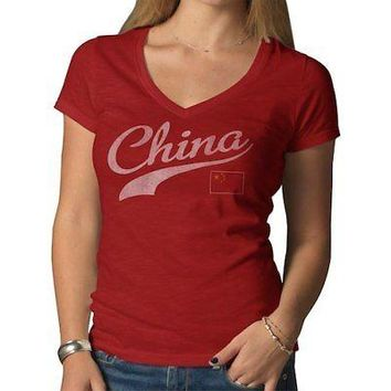 Licensed Sports China '47 Women's Country Scrum T-Shirt - Red KO_20_2