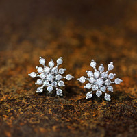 Snowflake Earrings Snow Winter Theme Cool Frozen Jewelry Stud Post Gift Idea Color Select