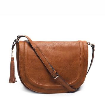 casual shoulder cross-body bag soft cover solid saddle tassel women messenger bag