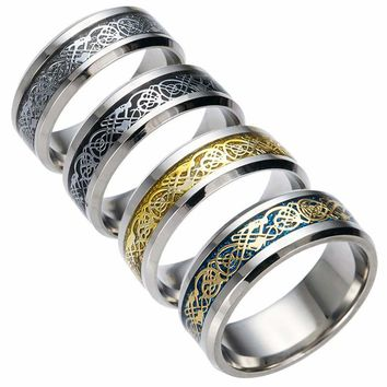 Dragon Rune Totem 316L Stainless Steel Mens Rings The Ring for Man of Lord Boyfriend Gift Soldiers Male Jewelry Vintage Lovers