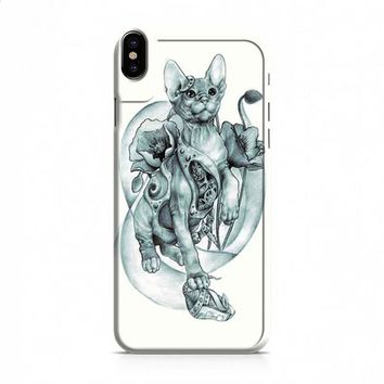 steampunk tattoo cat iPhone X case