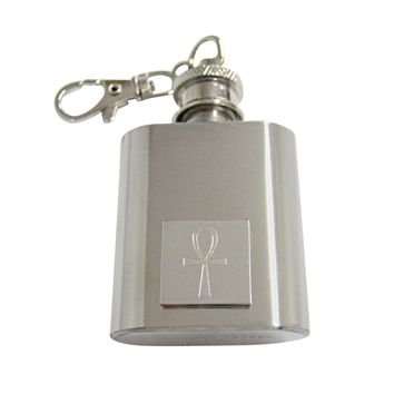 Silver Toned Etched Ankh Cross Keychain Flask