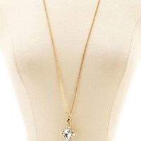 Spike & Diamante Pendant Necklace by Charlotte Russe - Gold