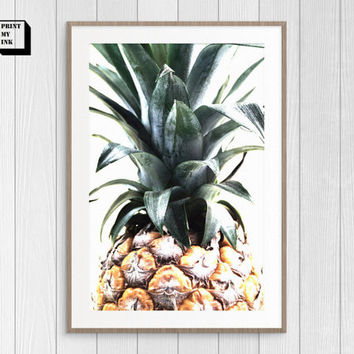 Pineapple Print, Tropical print, Pineapple printable, Pineapple Wall Art, Pineapple poster, Digital art,Pineapple photography, vegan kitchen