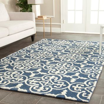 Safavieh Handmade Cambridge Moroccan Navy Wool Area Rug (5' x 8') | Overstock.com Shopping - The Best Deals on 5x8 - 6x9 Rugs