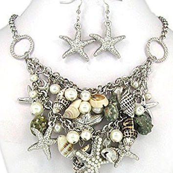 Pearl Star Fish Real Shell Imitation Pearl Nautical Silver-tone Necklace Set Earrings Jewelry Nexus
