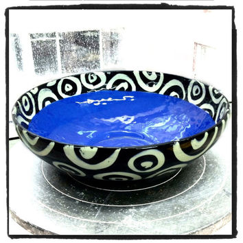 Medium ceramic bowl cobalt blue inside black and white pattern perfect for entertaining and serving made in NYC