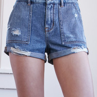 Bullhead Denim Co. Bear Wash Ripped Utility High Rise Denim Shorts at PacSun.com