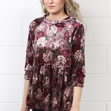 Floral Crushed Velvet Babydoll Top {Mauve Mix}