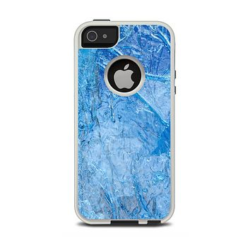 The Deep Blue Ice Texture Apple iPhone 5-5s Otterbox Commuter Case Skin Set
