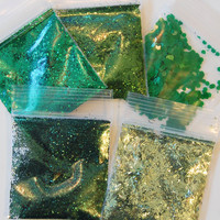 Cool Green Solvent Resistant Glitter Sampler Set of 5 for Glitter Nail Art and Glitter Crafts