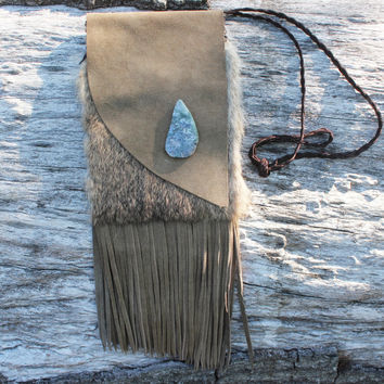 Large Beige Leather Medicine Bag, Purse, Handbag with Rabbit Fur, Moss Agate, and Deer Leather Braided Lace, Fringed