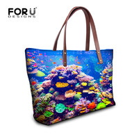 Women Handbags Ocean Fish Print Shoulder Bags Large Capacity Shopping Bag Bolsas s