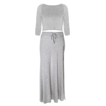 2 Piece Coordinating Terry Top and Side Slit Maxi, Light Gray