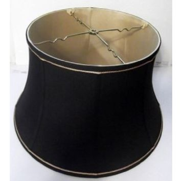 """0031 Black Table Drum Table Lamp Shade -white Lining - 8 3/4"""" Top X 12"""" Bottom X 9"""" Height"""