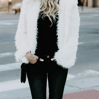 White Plain Pockets Hooded Furry Long Sleeve Fuzzy Reversible Jacket Fashion Coat