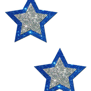 ROCKSTAR: STAR PASTIES IN BLUE AND SILVER GLITTER