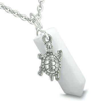 Amulet Turtle Lucky Charm Crystal Point White Snowflake Quartz Pendant 22 Inch Necklace