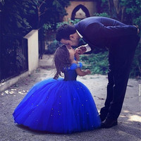 Royal Blue Flower Girl Dress Cloud Little Girls Kids Holy Primera Communion Ball Gown Evening Prom Dresses Gowns For Weddings