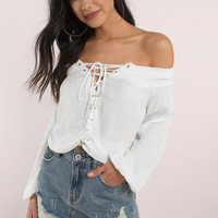 Kelli Lace Up Blouse