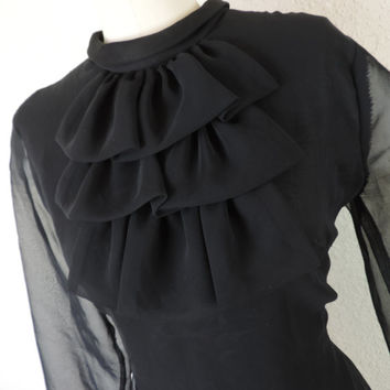 gothic black jabot blouse. 1970's waterfall ruffle secretary button down. large / XL.