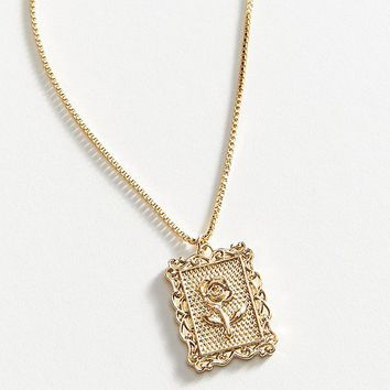 Rose Frame Pendant Necklace   Urban Outfitters