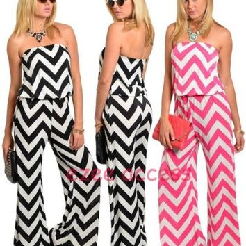 Women Chevron Zig Zag Strapless Romper Jumper Cat Jump Suit Dress Wide Leg pants