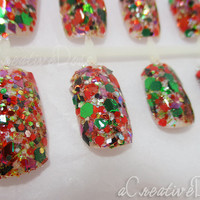 SALE! *Let's Celebrate!* Christmas Nails, Fake Nails, Sparkly Nails, Fashion Nails, Bling Nails, 3D Nails, Winter Nails, Reusable with Glue