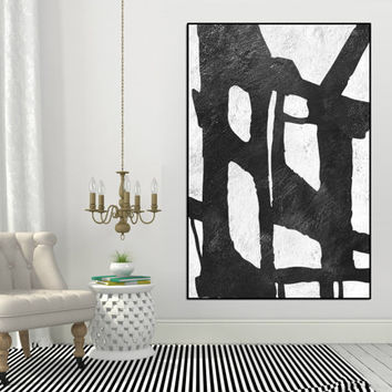 Original Painting Large wall Art, modern wall decor, large Aclylic Painting On Canvas Minimalist Art, Black and white painting wall art
