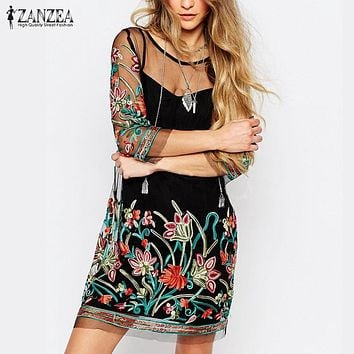 ZANZEA 2017 Boho Women Vintage Floral Embroidery Vestidos Casual See Through 3/4 Sleeve Mini Dresses Lace Mesh Dress Plus Size