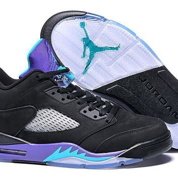 Air Jordan 5 Retro Low Black/Purple Men Leather Sneaker US8-12