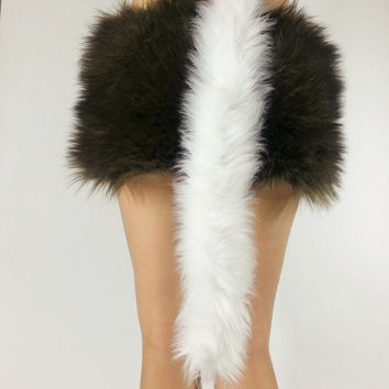 White Tail- FREE SHIPPING -Handmade Fur Costume Tail Long White Tail White Costume Tail Halloween, Raves, Cosplay