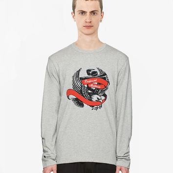 Flying Eagle Raw-Cut Long Sleeve Tee in Heather Gray
