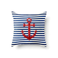 Nautical Pillow Cover, Anchor Pillow Cover, Red Anchor Pillow Cover, Red White and Blue, Nautical Home Decor, Striped Decor, beach decor