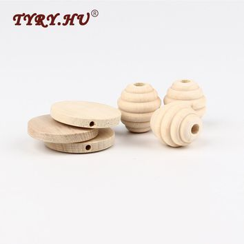 TYRY.HU 5pcs/Lot 22x20mm DIY Natural Round Beehive Wood Beads For Kids Necklace or Bracelet Making Wooden Teethers Baby Toys