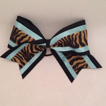 "Large 3"" Cheer Bow ( Black, turquoise, tiger stripes)"