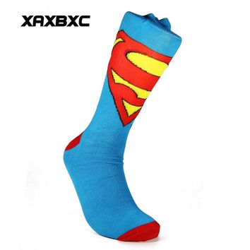 XAXBXC 2018 NEW Men's Cotton Sock Comics Cartoon The Avengers Hulk Superman Flash Knitted Midi Calf Casual Men Socks 3pairs/lot