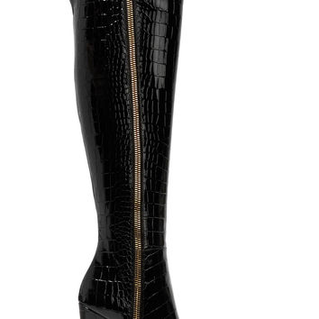 Croc-effect patent-leather over-the-knee boots | Giuseppe Zanotti | US | THE OUTNET