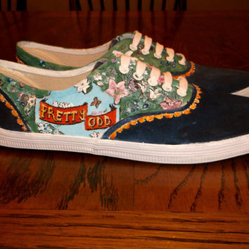 Hand Painted Panic at the Disco Shoes by InfinityOnBandShoes