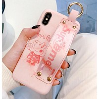 Supreme X Peppa Pig Stylish Ladies Cute iPhone Phone Cover Case For iphone 6 6s 6plus 6s-plus 7 7plus 8 8plus X Pink I12409-1